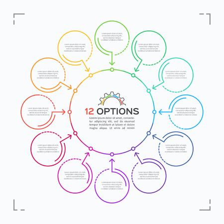 Plantilla de infografía de círculo de estilo minimalista con 12 opciones Foto de archivo - 66487924
