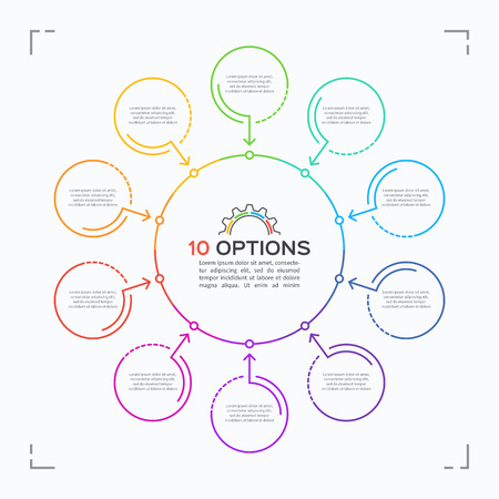 Minimal style circle infographic template with 10 options