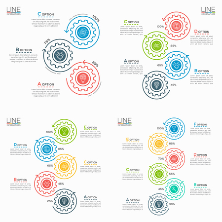 Set of Thin line business infographic templates with gears. Illustration