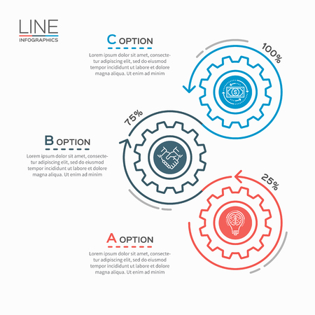 Thin line business infographic template with gears cogwheels 3 steps, processes, parts, options.