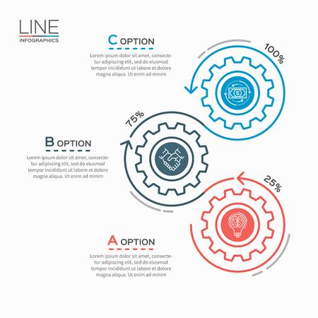 Thin line-Geschäft Infografik-Vorlage mit Getriebe cogwheels 3 Stufen, Prozesse, Teile, Optionen. Standard-Bild - 65004983