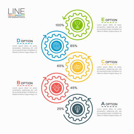 Thin line business infographic template with gears cogwheels 5 steps, processes, parts, options.
