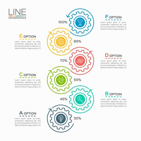 Negocio plantilla de línea delgada infografía con los engranajes ruedas dentadas 6 pasos, procesos, piezas, opciones. Foto de archivo - 65004981