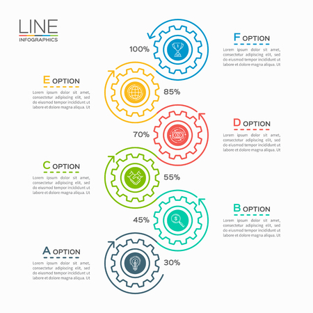 Thin line business infographic template with gears cogwheels 6 steps, processes, parts, options. Illustration