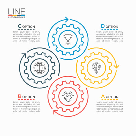 Thin line circle infographic template with gears cogwheels 4 steps, processes, parts, options.
