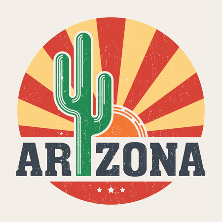 Arizona t-shirt design, print, typography, label with styled saguaro cactus and sun.