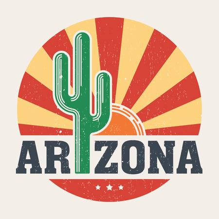 saguaro: Arizona t-shirt design, print, typography, label with styled saguaro cactus and sun.