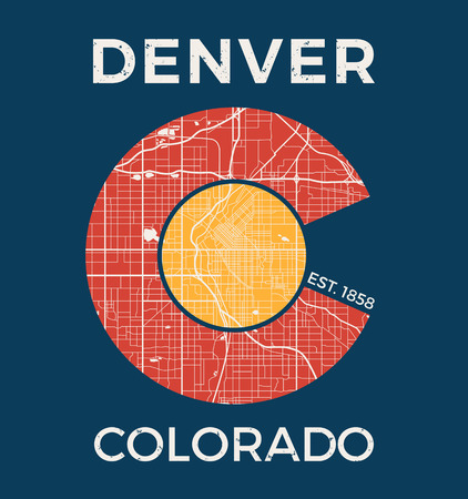 colorado mountains: Colorado t-shirt graphic design with denver city map. Tee shirt print, typography, label, badge, emblem. Illustration