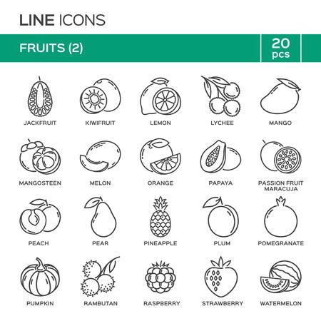 Set of fruit thin line icons in alphabetical order. Fruit symbols, labels, emblems.