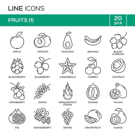 Ensemble de fruits icônes de ligne mince dans l'ordre alphabétique. symboles de fruits, les étiquettes, les emblèmes.