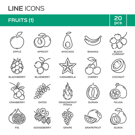 Set of fruit thin line icons in alphabetical order. Fruit symbols, labels, emblems.
