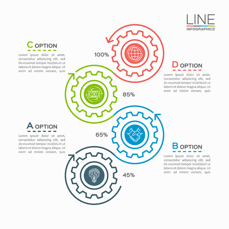 Thin line business infographic template with gears cogwheels 4 steps, processes, parts, options. Vector illustration.