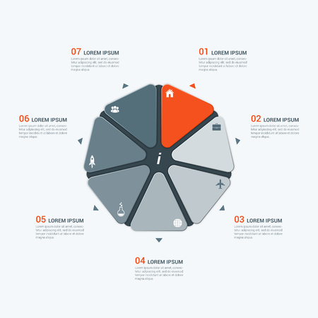heptagon: Vector infographic template with heptagon 7 options Illustration