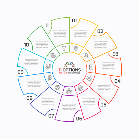 Thin line pie chart infographic template with 11 options. Vector illustration. Illustration