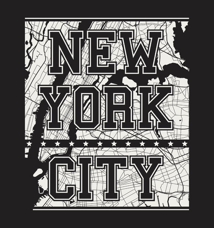 varsity: New York tee print with city streets. T-shirt design, graphics, stamp, label, typography. Illustration