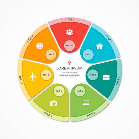Pie chart circle infographic template with 7 options Illustration