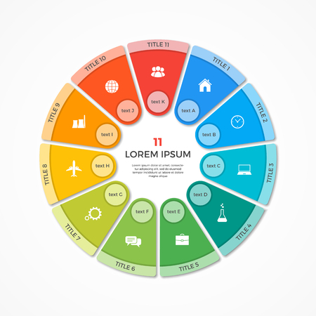 Vector pie chart circle infographic template with 11 options