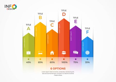 adjusted: Column chart infographic template with 6 options. The elements of this template can be easily adjusted, transformed, addedcompleted, deleted and the colour can be changed. Illustration