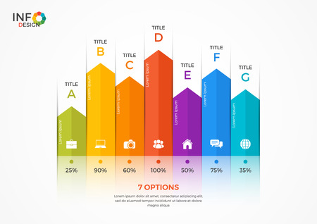 Column chart infographic template with 7 options. The elements of this template can be easily adjusted, transformed, addedcompleted, deleted and the colour can be changed.