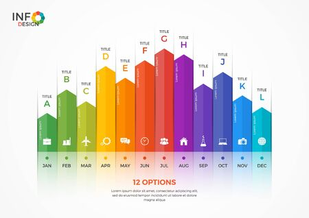 Column chart infographic template with 12 options. The elements of this template can be easily adjusted, transformed, addedcompleted, deleted and the colour can be changed. Illustration