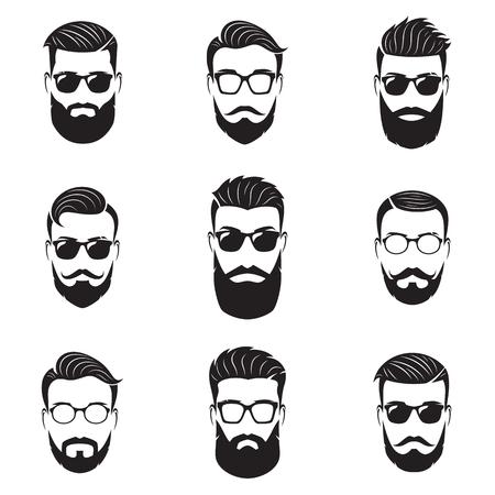 ベクトルのひげを生やした男性顔、別の髪型、髭、ひげのヒップスターのセットです。流行に敏感なシルエット、エンブレム、アイコン、ラベル。
