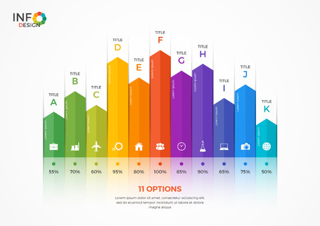 adjusted: Column chart infographic template with 11 options. The elements of this template can be easily adjusted, transformed, addedcompleted, deleted and the colour can be changed. Illustration