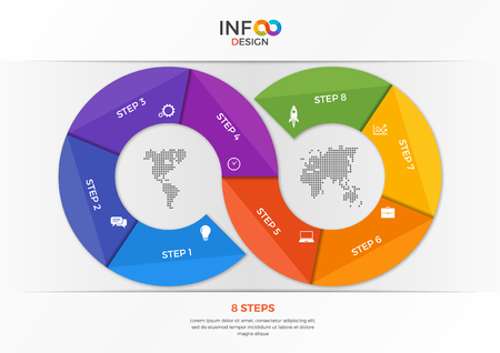 organizer: Infographic template in the form of the infinity sign with 8 steps. Template for presentations, advertising, layouts, annual reports, web design etc
