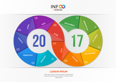 New year 2017 infographic concept in the form of the infinity sign. Template for presentations, advertising, layouts, annual reports, web design etc