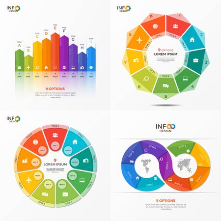 adjusted: Set of infographic 9 options templates for presentations, advertising, layouts, annual reports. The elements can be easily adjusted, transformed, added, deleted and the colour can be changed.
