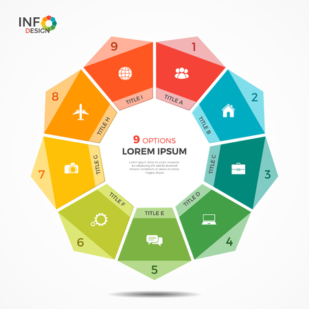 Colorful infographic template with 9 options circle chart. The elements of this template can be easily adjusted, transformed, addedcompleted, deleted and the colour can be changed.