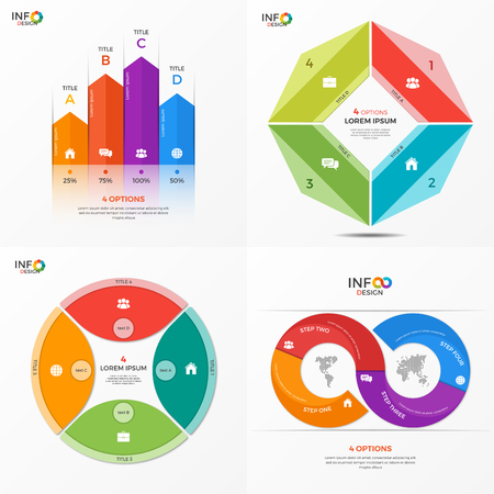 adjusted: Set of infographic 4 options templates for presentations, advertising, layouts, annual reports. The elements can be easily adjusted, transformed, added, deleted and the colour can be changed.