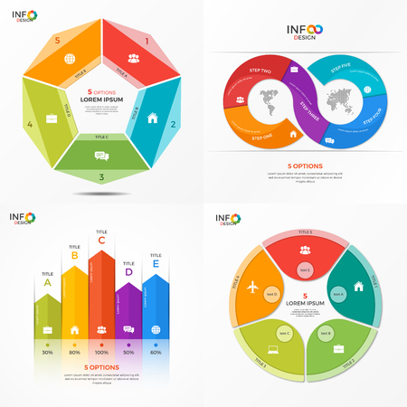 Set of infographic 5 options templates for presentations, advertising, layouts, annual reports. The elements can be easily adjusted, transformed, added, deleted and the colour can be changed.