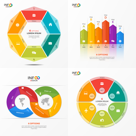 Set of infographic 6 options templates for presentations, advertising, layouts, annual reports. The elements can be easily adjusted, transformed, added, deleted and the colour can be changed. Illustration