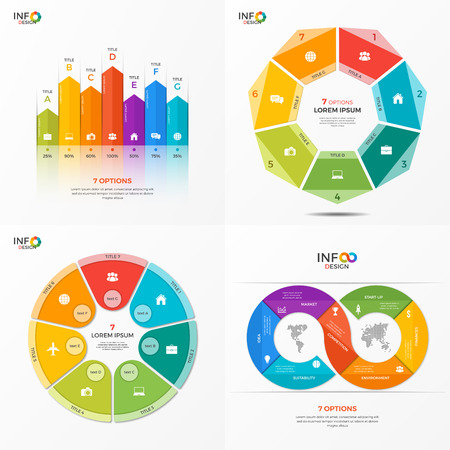 adjusted: Set of infographic 7 options templates for presentations, advertising, layouts, annual reports. The elements can be easily adjusted, transformed, added, deleted and the colour can be changed.