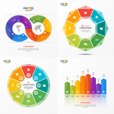 Set of infographic 8 options templates for presentations, advertising, layouts, annual reports. The elements can be easily adjusted, transformed, added, deleted and the colour can be changed. Illustration