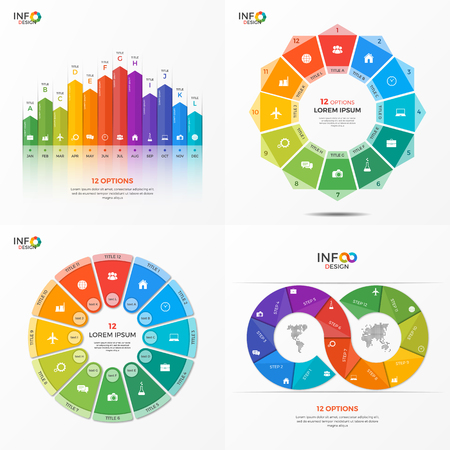 Set of infographic 12 options templates for presentations, advertising, layouts, annual reports. The elements can be easily adjusted, transformed, added, deleted and the colour can be changed.