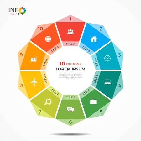 Infographic template with 10 options circle chart. The elements of this template can be easily adjusted, transformed, added, deleted and the colour can be changed.
