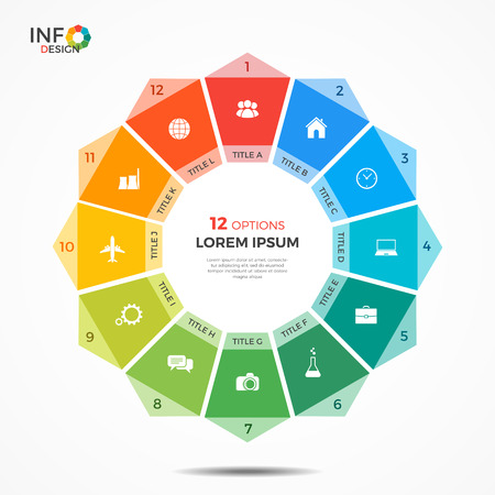 heptagon: Infographic template with 12 options circle chart. The elements of this template can be easily adjusted, transformed, added, deleted and the colour can be changed. Illustration