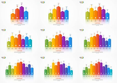 adjusted: Set of column chart infographic templates for presentations, advertising, layouts, annual reports. The elements can be easily adjusted, transformed, added, deleted and the colour can be changed. Illustration