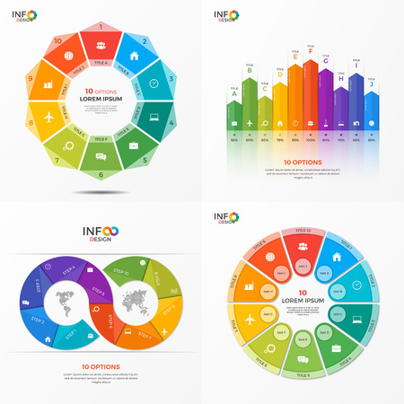 Set of infographic 10 options templates for presentations, advertising, layouts, annual reports. The elements can be easily adjusted, transformed, added, deleted and the colour can be changed. Illustration