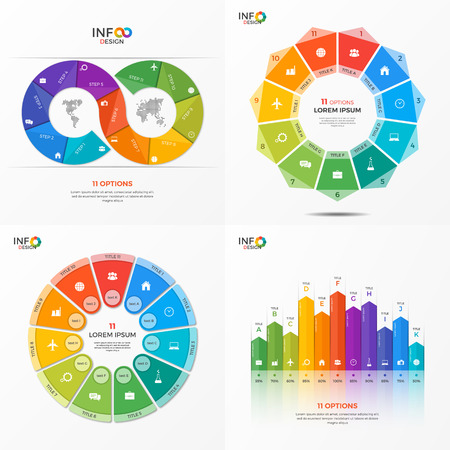 Set of infographic 11 options templates for presentations, advertising, layouts, annual reports. The elements can be easily adjusted, transformed, added, deleted and the colour can be changed. Illustration