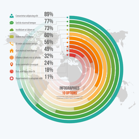 Vector template for circle informative infographics with 10 options for presentations, advertising, layouts, annual reports