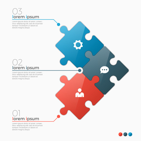 Vector 3 options infographic template with puzzle sections for presentations, advertising, layouts, annual reports