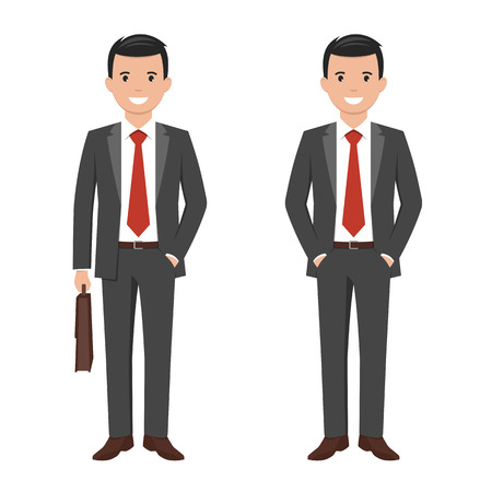 Vector illustration of a young cartoon style smiling businessman in a dark grey suit Vetores