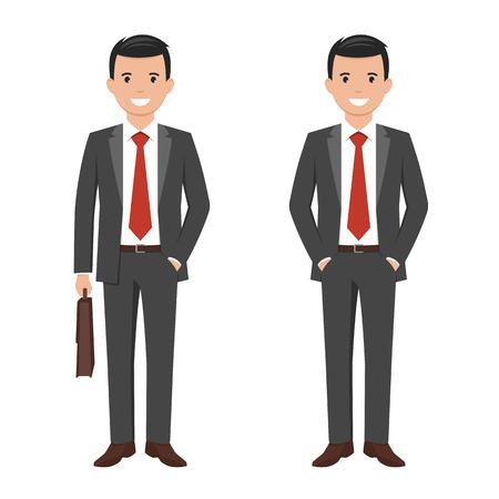Vector la ilustración de un hombre de negocios sonriente del estilo joven de la historieta en un juego gris oscuro Ilustración de vector
