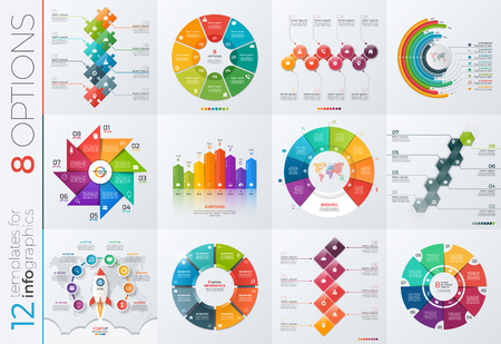 8 12: Collection of 12 vector templates for infographics with 8 options for presentations, advertising, layouts, annual reports