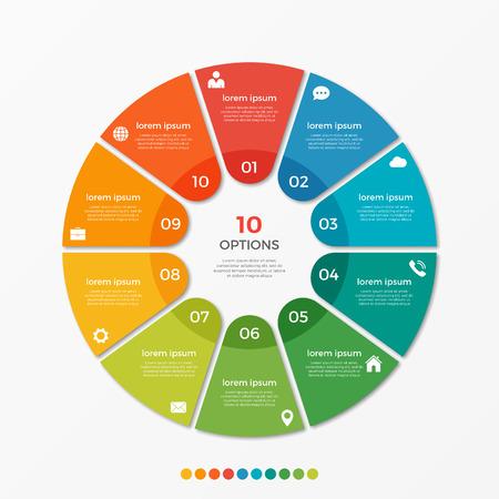 Plantilla de círculo gráfico infografía con 10 opciones para presentaciones, publicidad, diseños, informes anuales Foto de archivo - 70966461