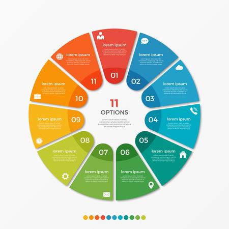 프리젠 테이션, 광고, 레이아웃, 연례 보고서를위한 11 가지 옵션이있는 원형 차트 인포 그래픽 템플릿