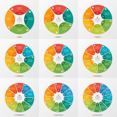 프리젠 테이션, 광고, 레이아웃, 연례 보고서, 웹 디자인을위한 4-12 원형 차트 인포 그래픽 템플릿 세트. 일러스트