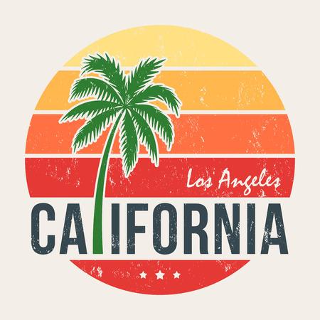California tee-print met gestileerde palmboom. T-shirt ontwerp, grafische afbeeldingen, stempel, label, typografie.